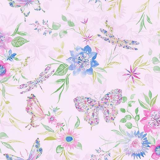 Rózsaszín alapon vidám pillangó virágmintás dekor tapéta