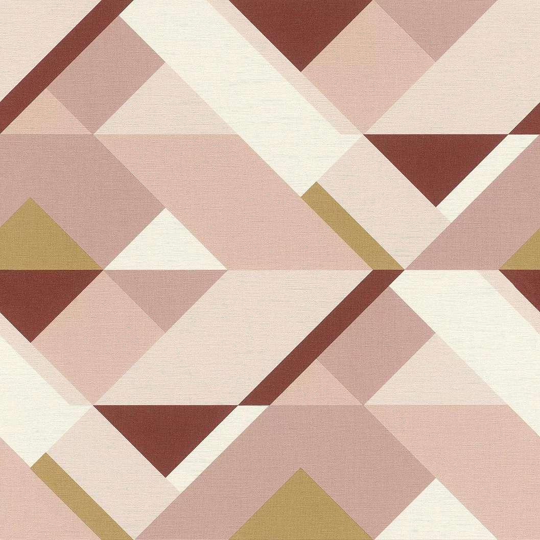 Rózsaszín-bézs geometrikus mintás vlies tapéta