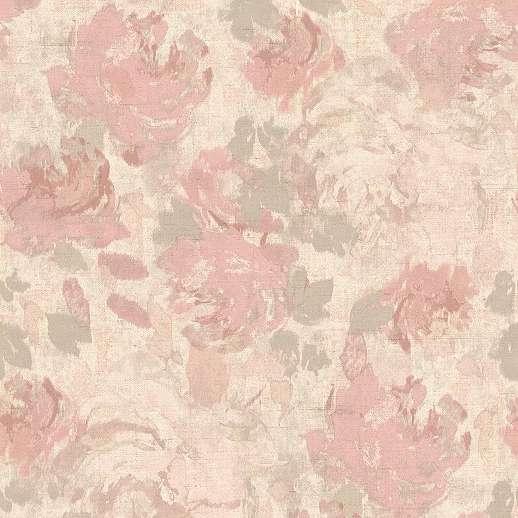Rózsaszín bézs romantikus akvarell hatású virágmintás tapéta