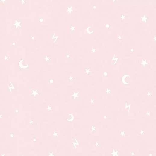 Rózsaszín csillag és félhold mintás tapéta lányszobába