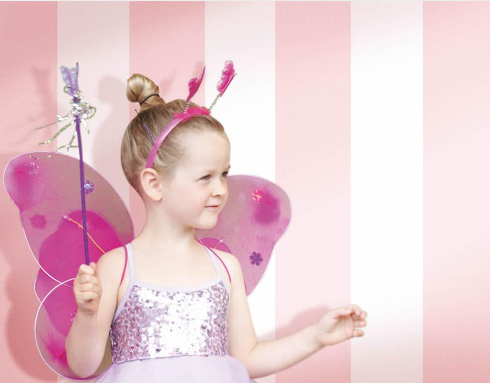 Rózsaszín fehér csíkos gyerek tapéta