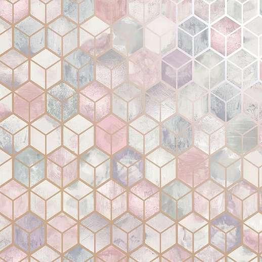 Rózsaszín fémes metál effekt 3D kocka mintás modern vlies tapéta