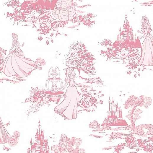 Rózsaszín gyerek tapéta Disney hercegnők mintával