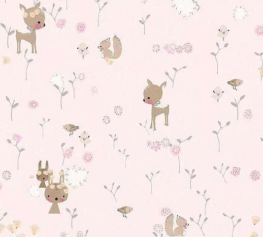 Rózsaszín gyerektapéta kedves erdei állat mintákkal, mókus, nyuszi, őzike