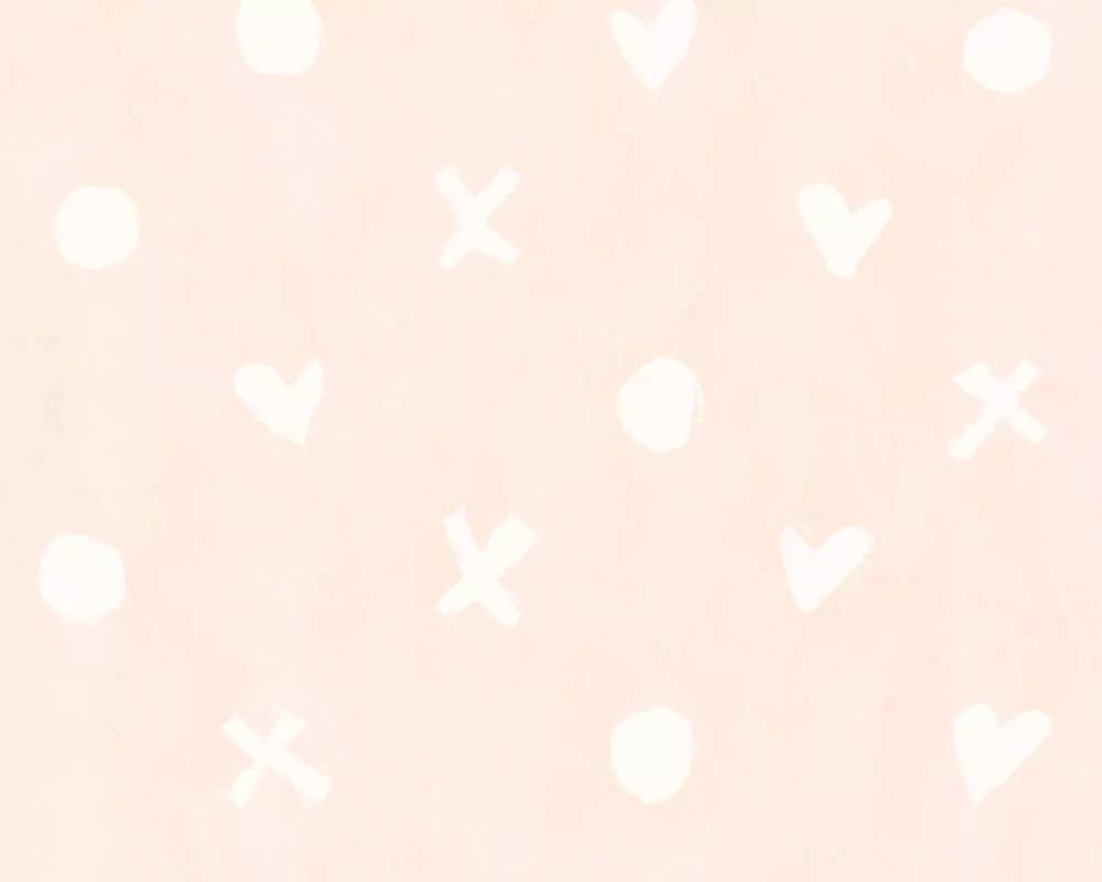Rózsaszín gyerektapéta szíecske és geometrikus mintákkal
