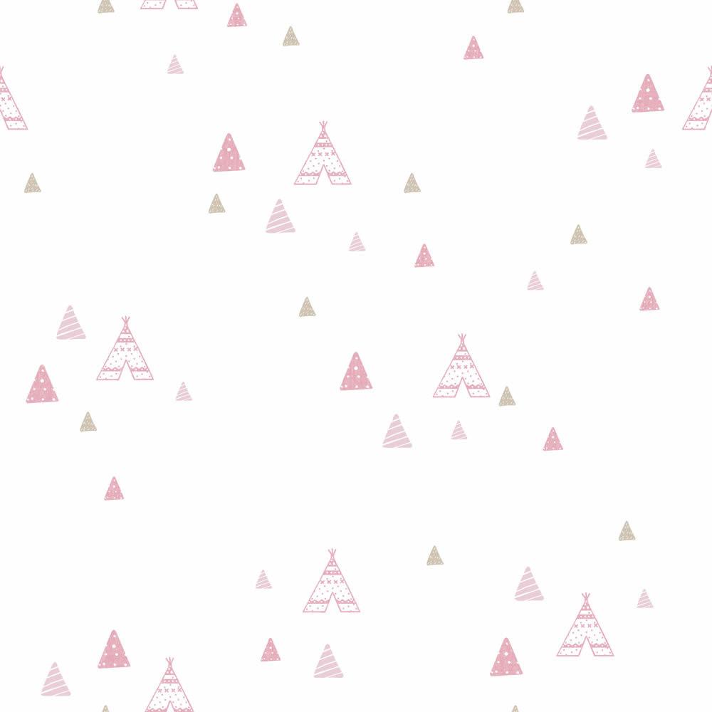 Rózsaszín indián sátor mintás gyerek tapéta