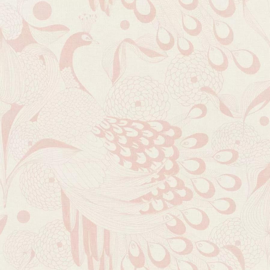 Rózsaszín keleties hangulatú madár mintás vlies tapéta