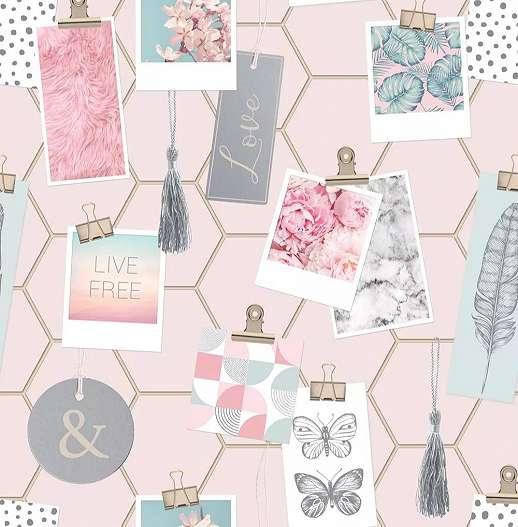 Rózsaszín kollázs mintás tapéta