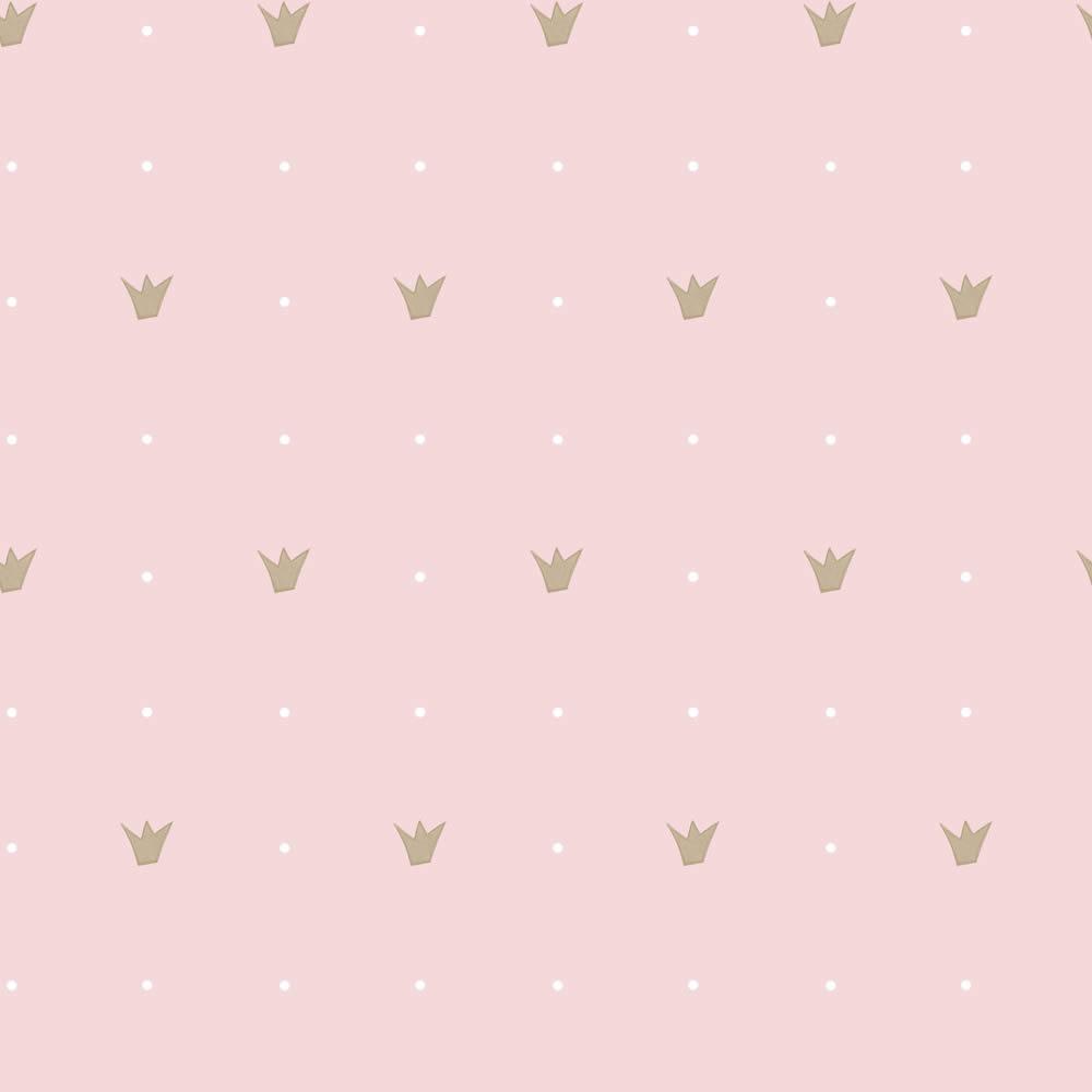 Rózsaszín korona mintás gyerek tapéta lány szobába