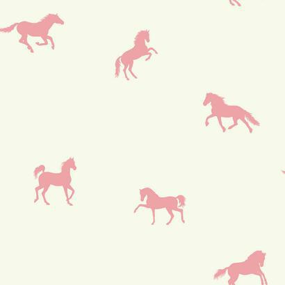 Rózsaszín lovacska mintás tapéta
