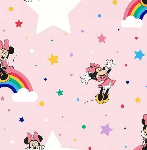 Rózsaszín Minnie egeres gyerektapéta lányszobába