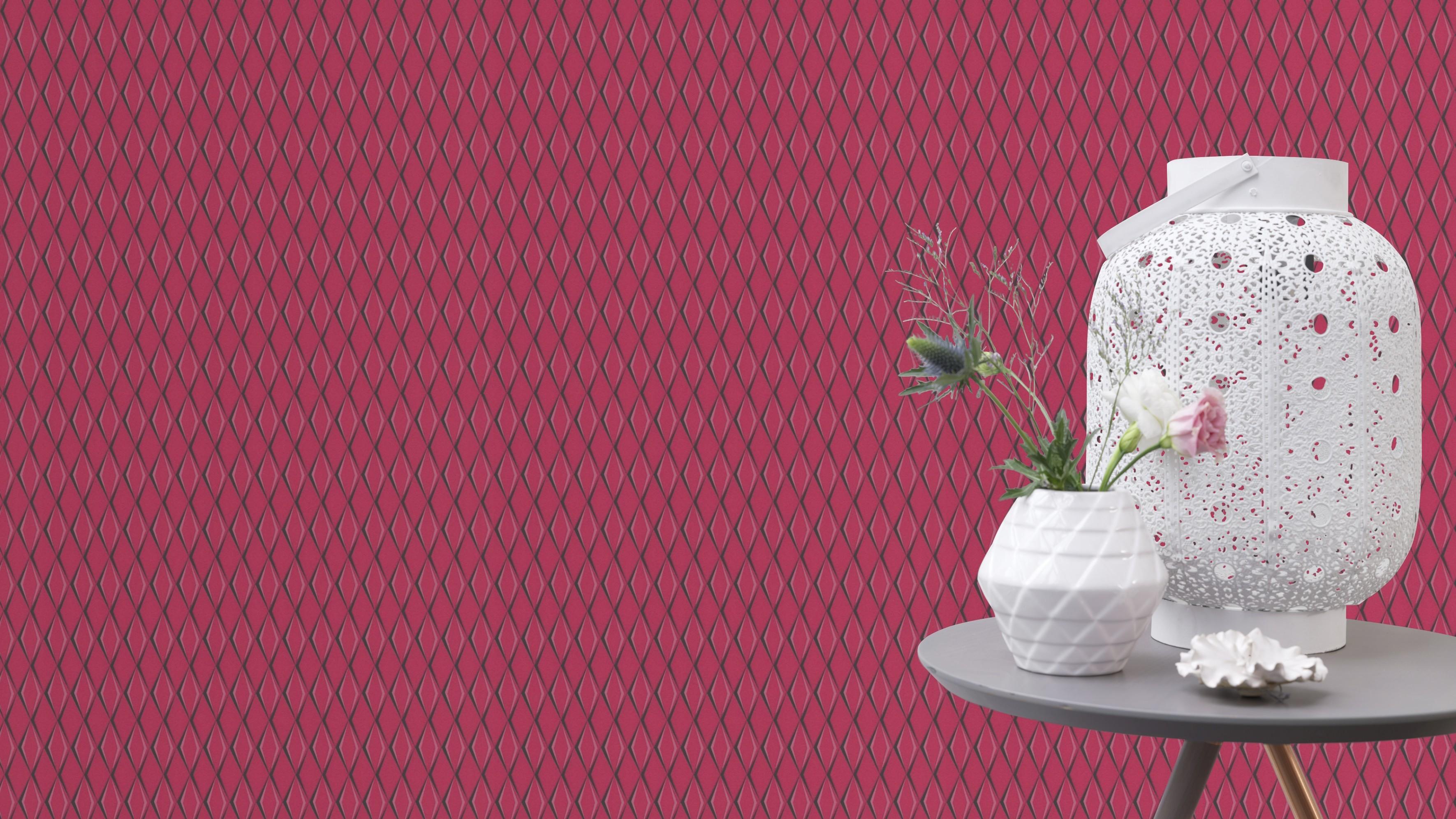 Rózsaszín modern geometriai mintás rasch tapéta