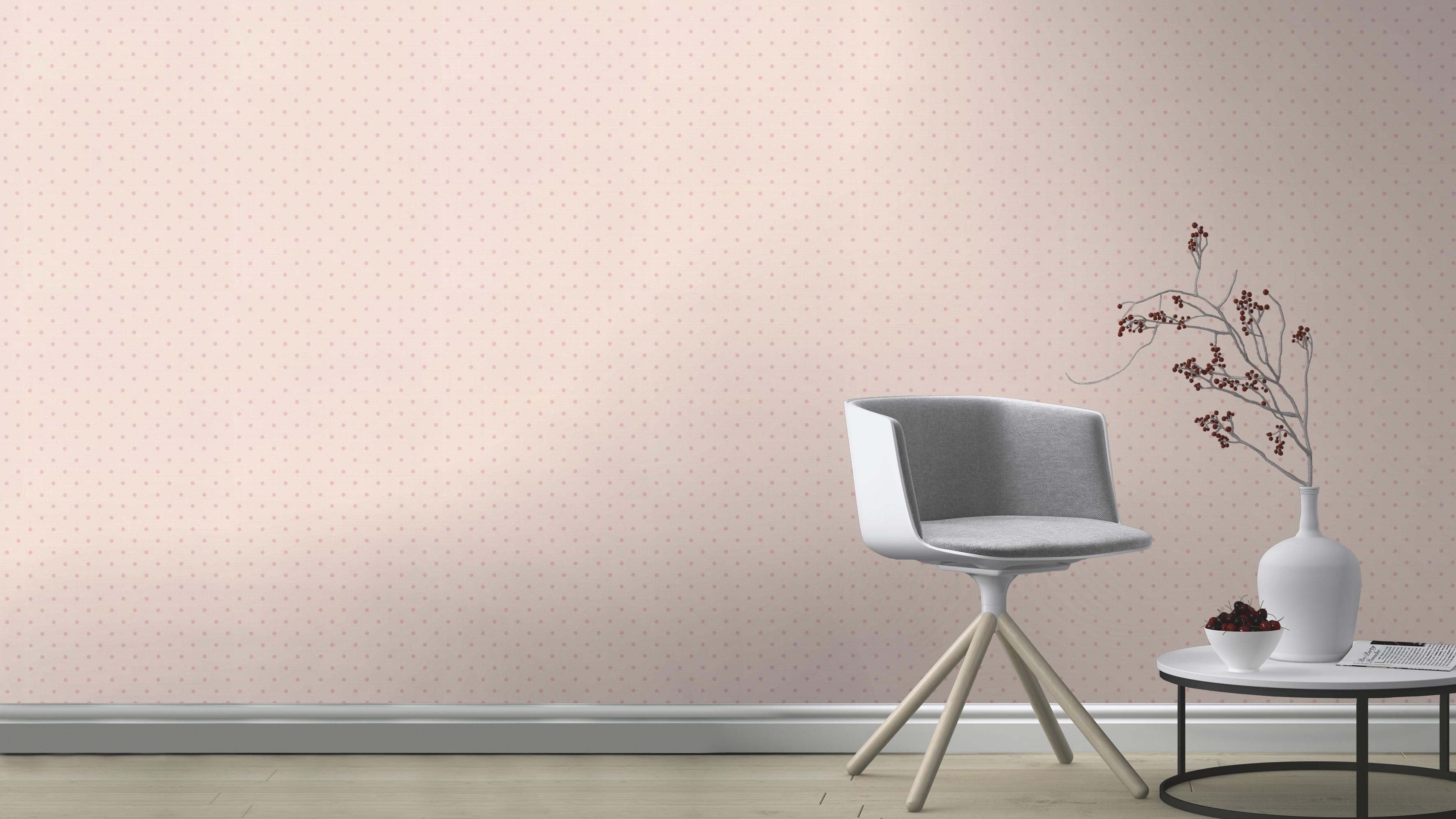 Rózsaszín pöttyös mintás tapéta