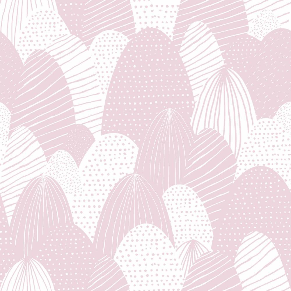 Rózsaszín rajzolt hegyek gyerek tapéta
