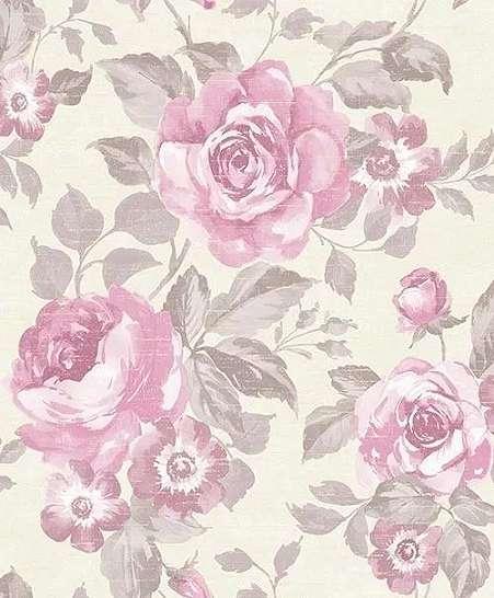 Rózsaszín romantikus rózsa mintás tapéta