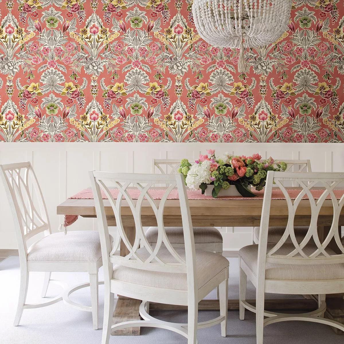 Rózsaszín romantikus vintage stílusú virágmintás vlies tapéta
