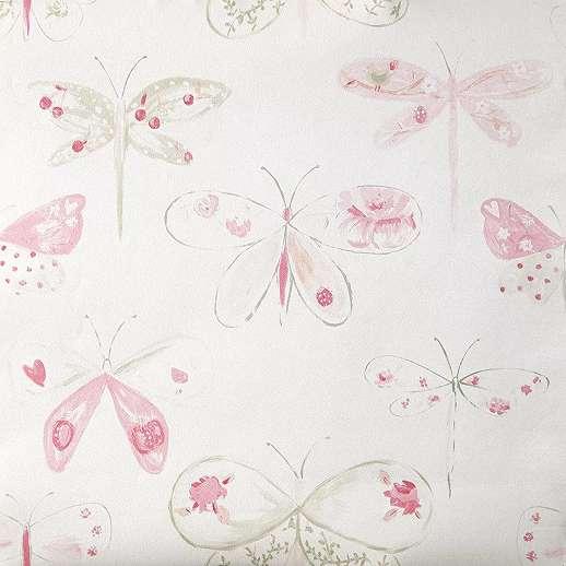 Rózsaszín szitakötő mintás akvarell stílusú gyerektapéta lányszobába