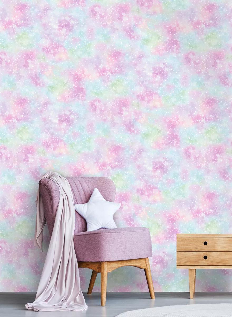 Rózsaszín trendi lányos tini tapéta csillag mintákkal