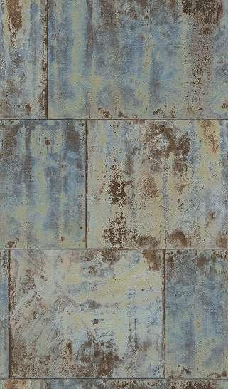 Rozsdamart kék, türkíz beton hatású tapéta