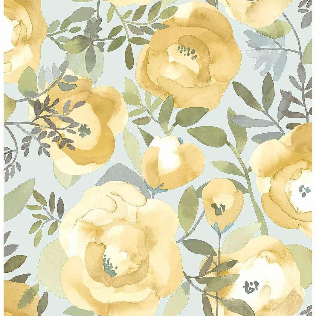 Sárga akvarell virágmintás vlies tapéta skandináv stílusban