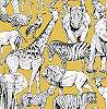 Sárga alapon afrikai állat mintás vlies tapéta gyerekszobába