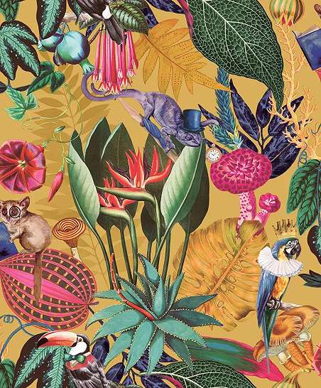 Sárga alapon papagáj, kaméleon mintás bohém design tapéta