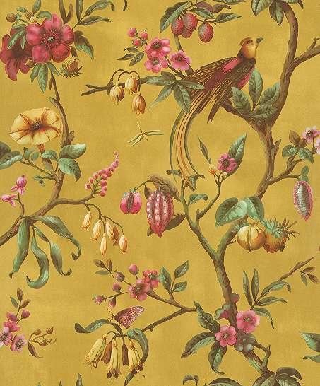 Sárga alapon romantikus madár és virágmintás vlies design tapéta