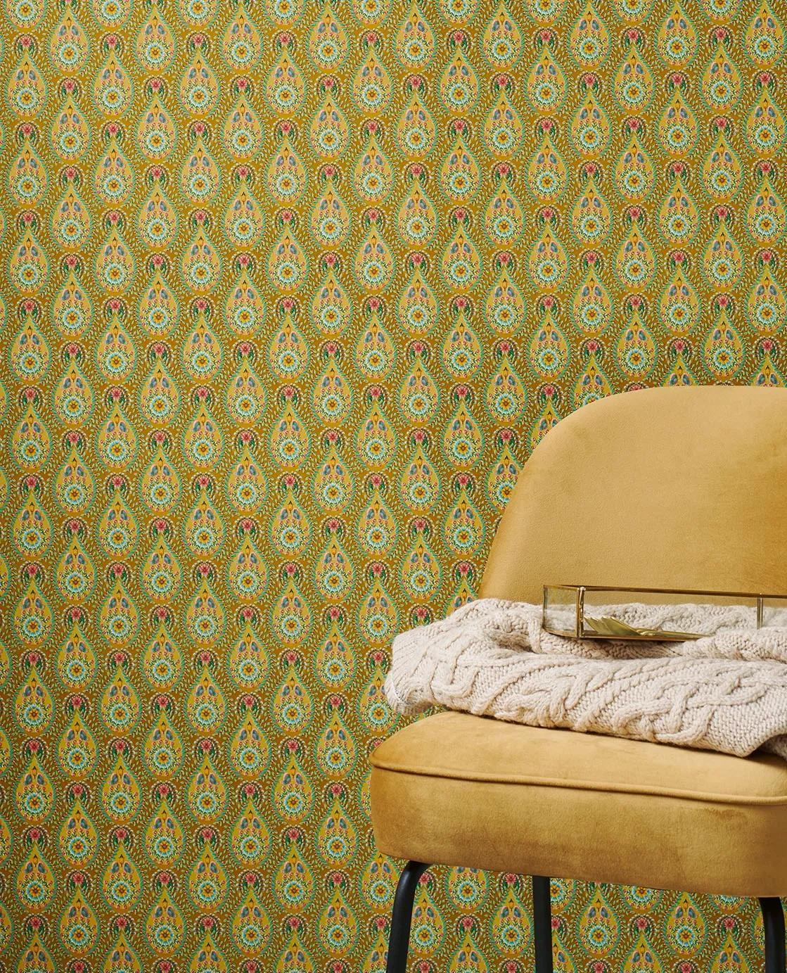 Sárga apró vintage hangulatú virágmintás eijffinger luxus tapéta