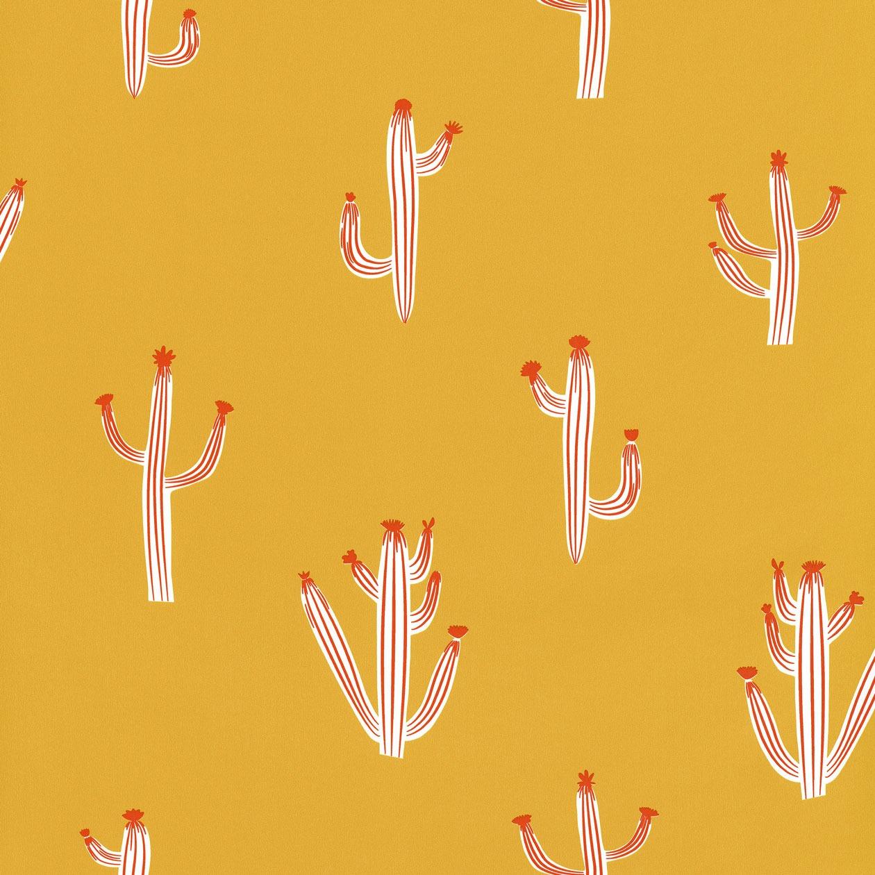 Sárga kaktusz mintás tapéta