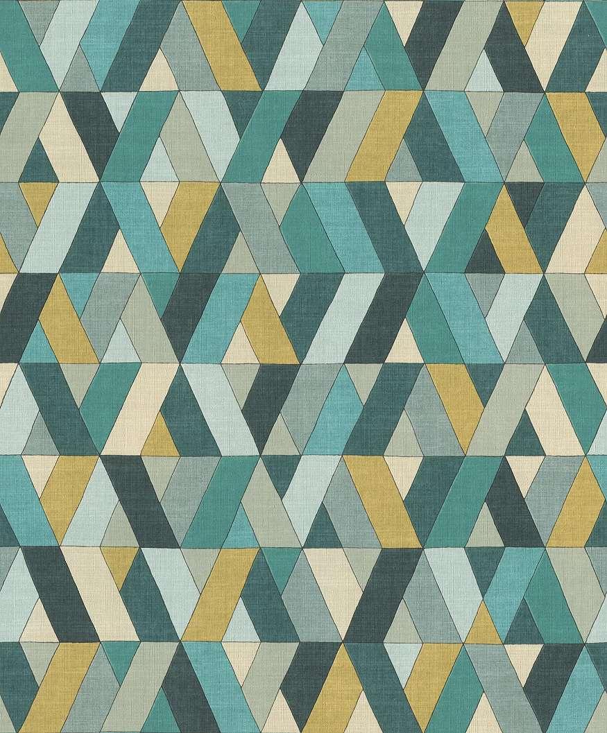 Sárga-kék trendi geometrikus mintás vlies tapéta