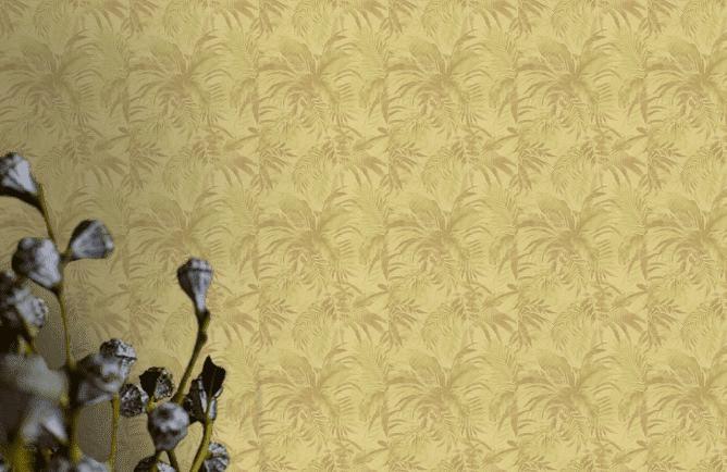 Sárga levél mintás tapéta