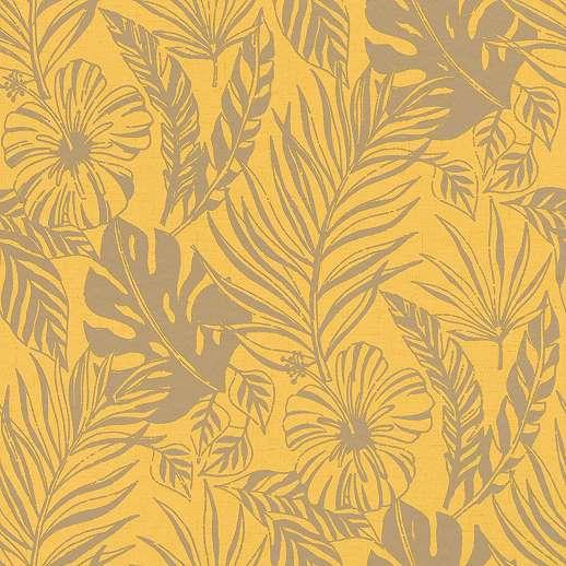 Sárga levélmintás trópusi hangulatú tapéta