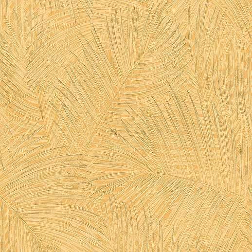 Sárga modern mosható felületű pálmalevél mintás vinyl tapéta