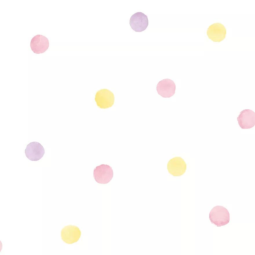 Sárga rózsaszín pöttyös mintás gyerekszobai tapéta