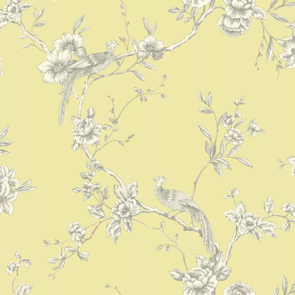 Sárga színű madár mintás tapéta