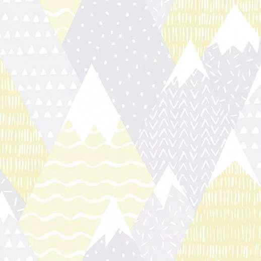 Sárga szürke skandináv stílusú gyerektapéta hegycsúcs mintával