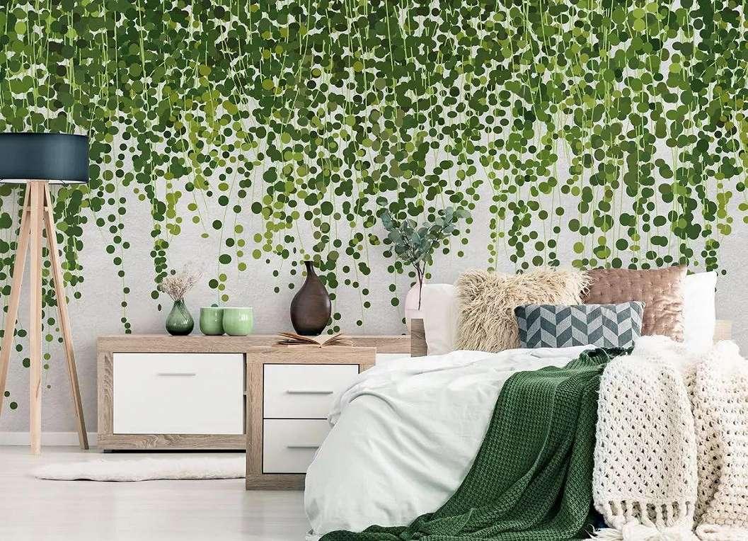 Skandináv hangulatú fali poszter futó zöld növény mintával