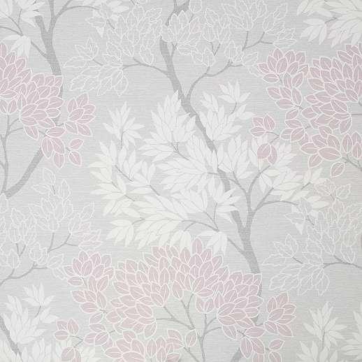 Skandináv stílusú erdei fa mintás tapéta rózsaszín levél mintákkal