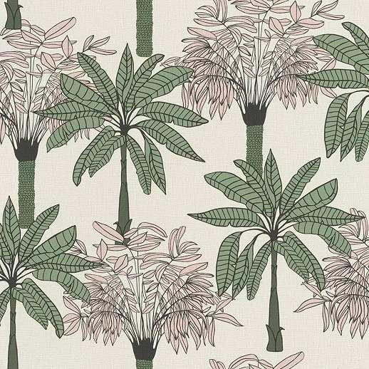 Skandináv stílusú rajzolt trópusi pálma mintás vlies tapéta