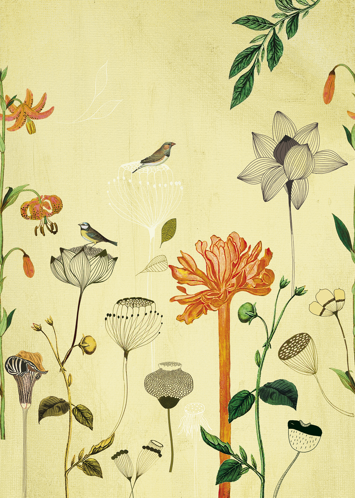 Skandináv stílusú színes virág mintás Rasch fali poszter