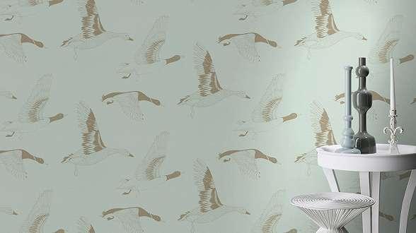 Skandináv stílusú tapéta madár mintával