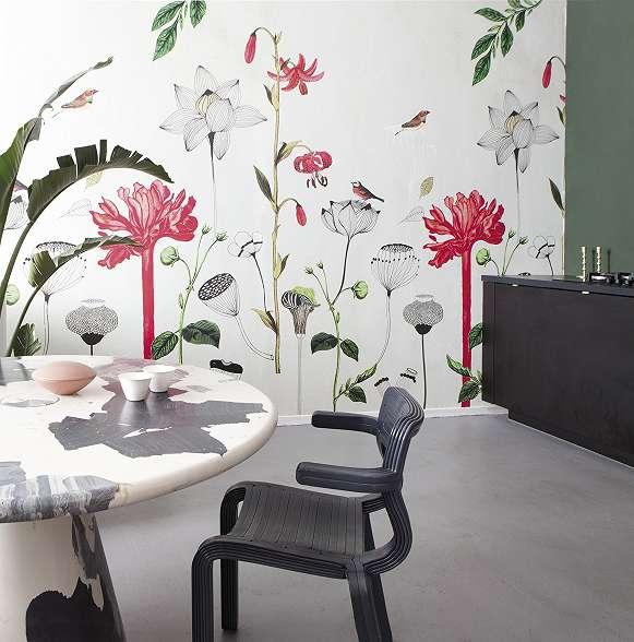 Skandináv stílusú virág mintás Rasch fali poszter
