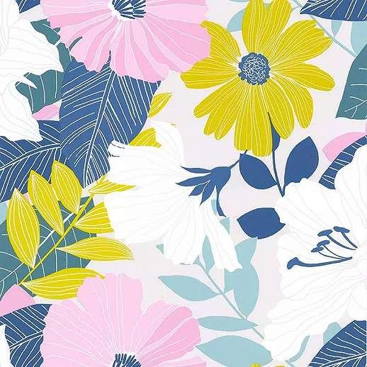 Sokszínű skandináv hangulatú virágmintás vlies vinyl design tapéta