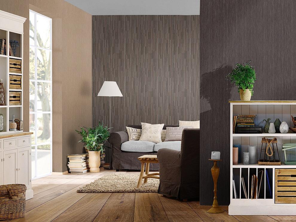 Sötét barna szőtt hatású uni tapéta