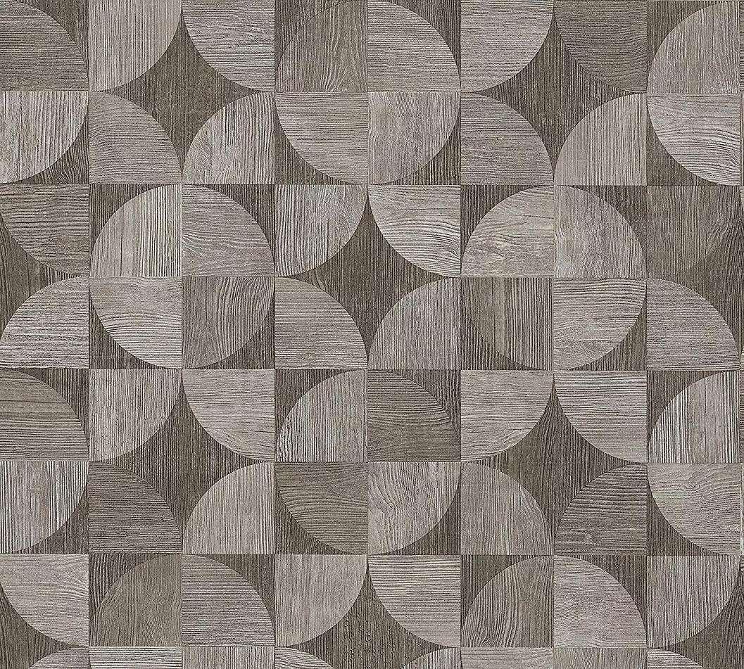 Sötétbarna fa hatású retro geometriai mintás vlies tapéta