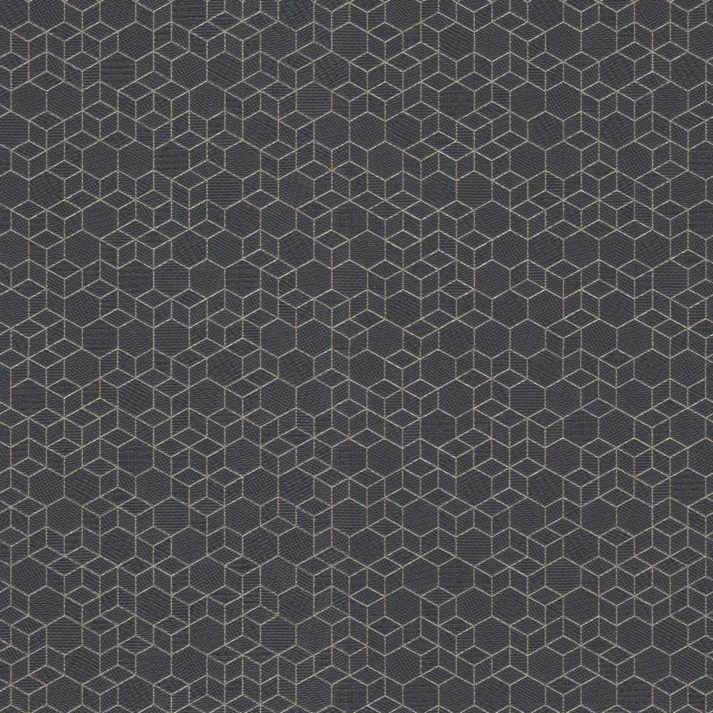 Sötétkék 3D apró léptékú kocka mintás vlies tapéta
