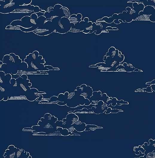 Sötétkék alapon felhő mintás vintage hangulatú vlies gyerektapéta