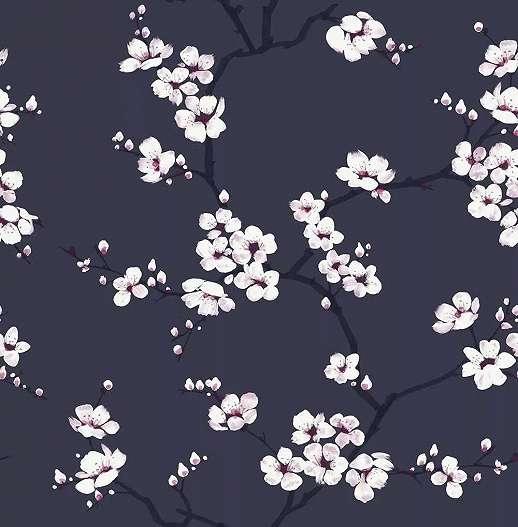 Sötétkék almafavirág mintás dekor tapéta