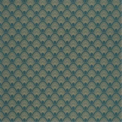 Sötétkék arany art deco mintás fémes mintafelületű prámium vlies tapéta