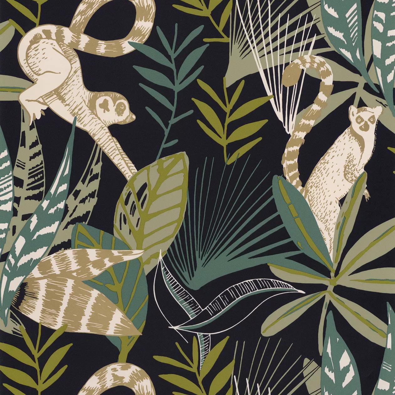 Sötétkék trópusi hangulatú pálma és lemur mintás vlies design tapéta